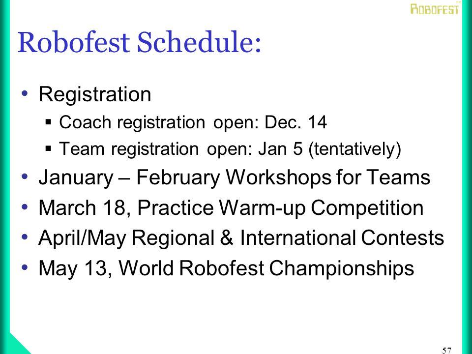57 Robofest Schedule: Registration Coach registration open: Dec.