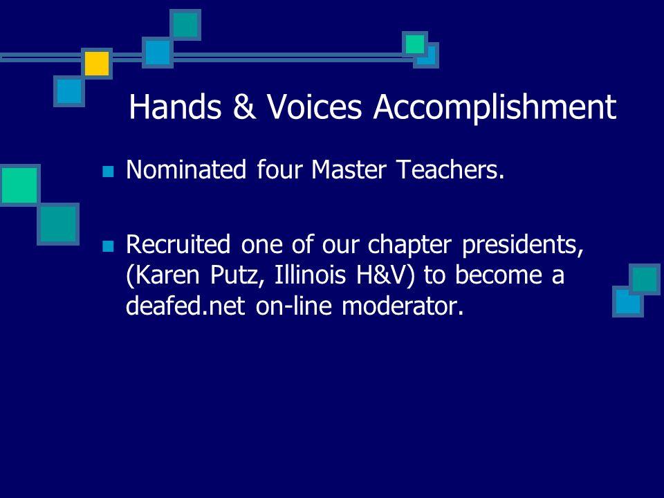 Hands & Voices Accomplishment Nominated four Master Teachers.