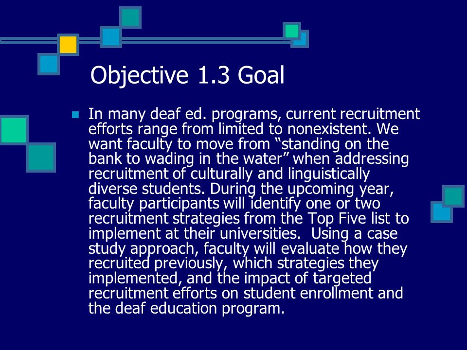 Objective 1.3 Goal In many deaf ed.