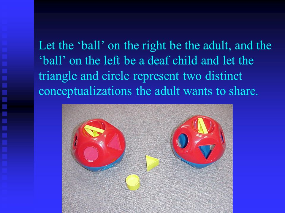 Let the ball on the right be the adult, and the ball on the left be a deaf child and let the triangle and circle represent two distinct conceptualizations the adult wants to share.
