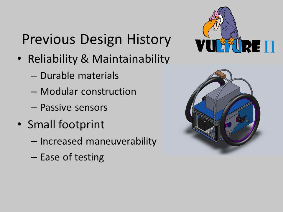 Previous Design History Reliability & Maintainability – Durable materials – Modular construction – Passive sensors Small footprint – Increased maneuverability – Ease of testing