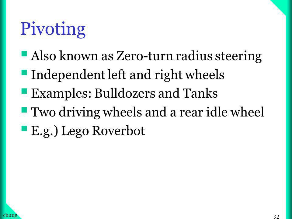 31 chung Steering Mechanisms: Pivoting, Turning, and Walking Pivoting: see next slide Turning Todays Cars are excellent example of turning steering Tr