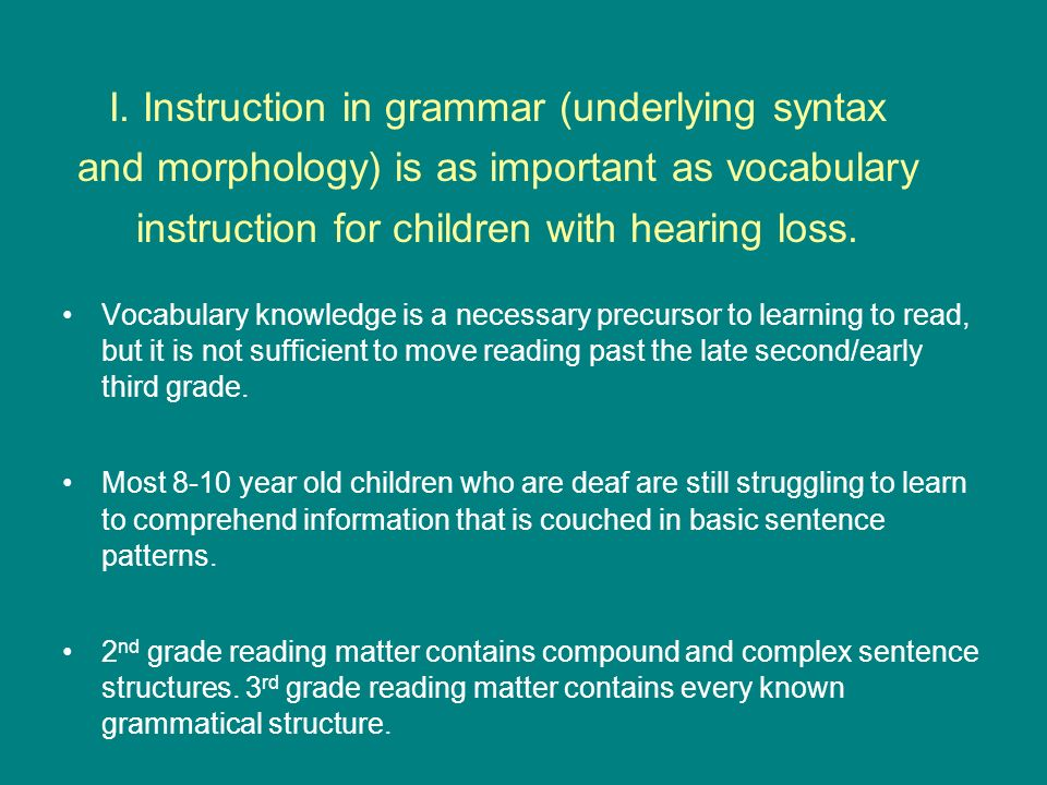 Vocabulary knowledge is a necessary precursor to learning to read, but it is not sufficient to move reading past the late second/early third grade. Mo