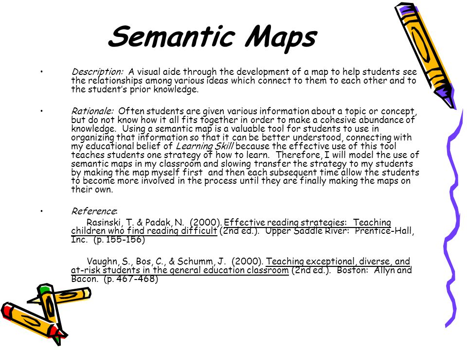Semantic Maps Description: A visual aide through the development of a map to help students see the relationships among various ideas which connect to them to each other and to the students prior knowledge.