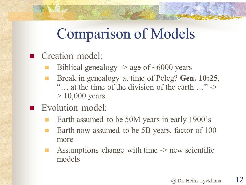 @ Dr. Heinz Lycklama 12 Comparison of Models Creation model: Biblical genealogy -> age of ~6000 years Break in genealogy at time of Peleg? Gen. 10:25,