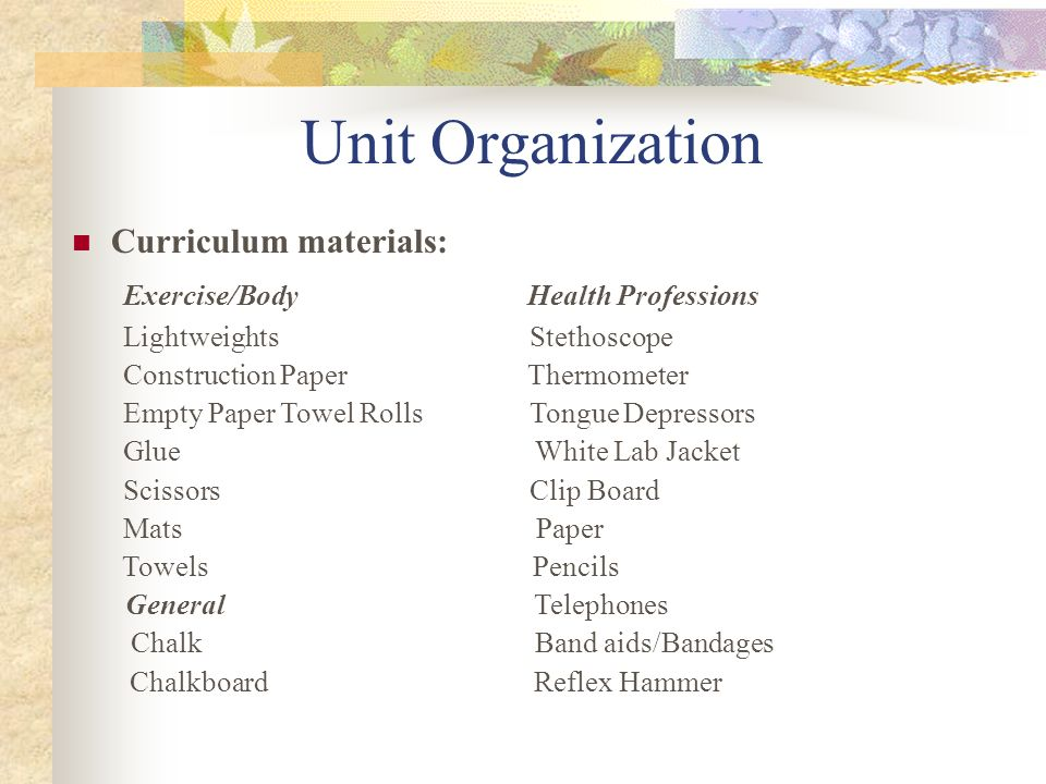 Unit Organization Curriculum materials: Exercise/Body Health Professions Lightweights Stethoscope Construction Paper Thermometer Empty Paper Towel Rol