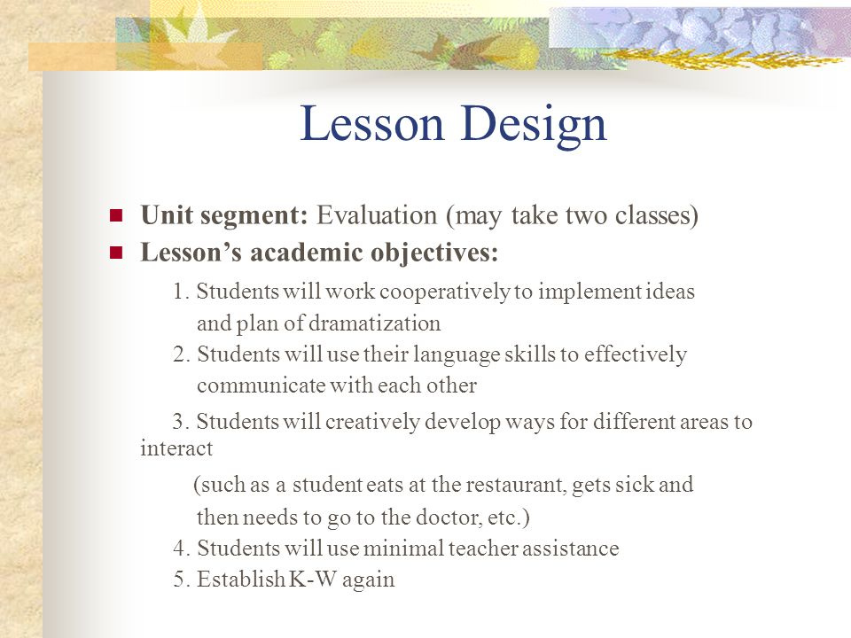 Lesson Design Lessons curriculum materials: Use the same materials as in the application lesson.