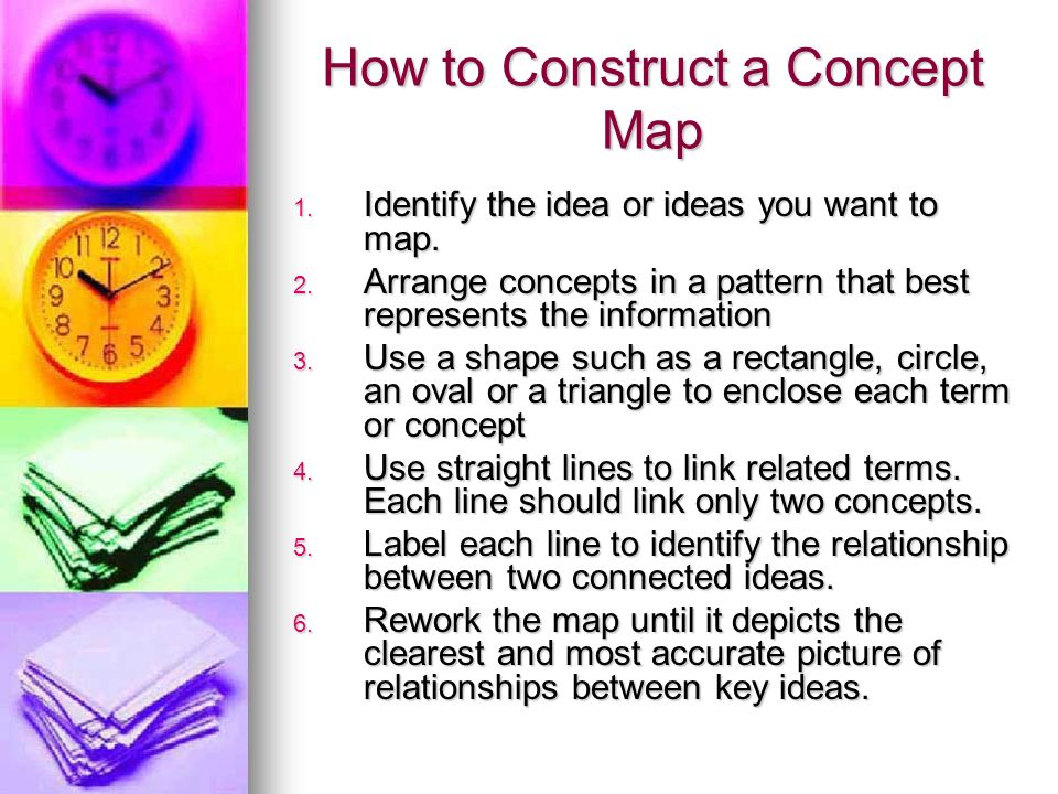 How to Construct a Concept Map 1. Identify the idea or ideas you want to map. 2. Arrange concepts in a pattern that best represents the information 3.