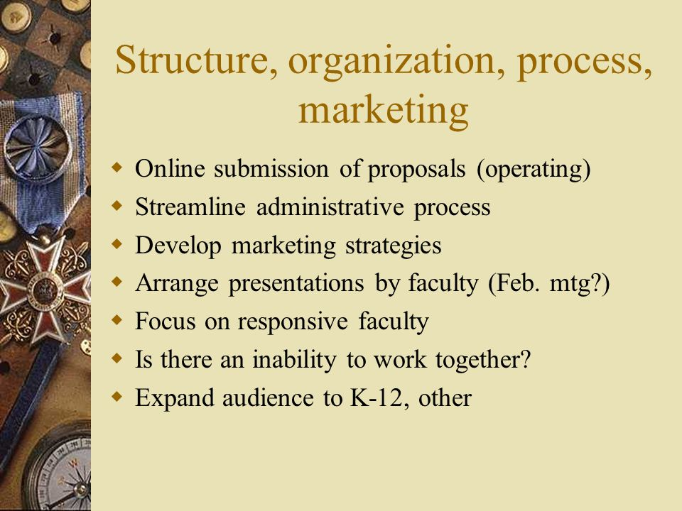 Structure, organization, process, marketing Online submission of proposals (operating) Streamline administrative process Develop marketing strategies Arrange presentations by faculty (Feb.