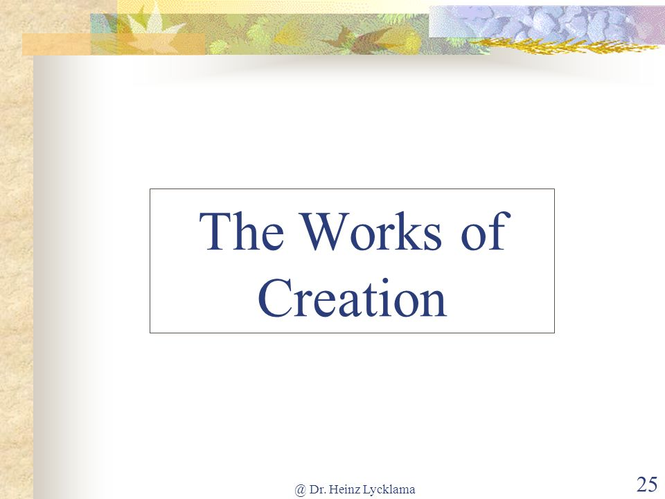 @ Dr. Heinz Lycklama 25 The Works of Creation