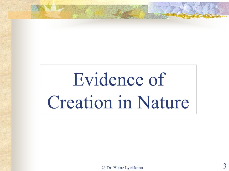 @ Dr. Heinz Lycklama 3 Evidence of Creation in Nature