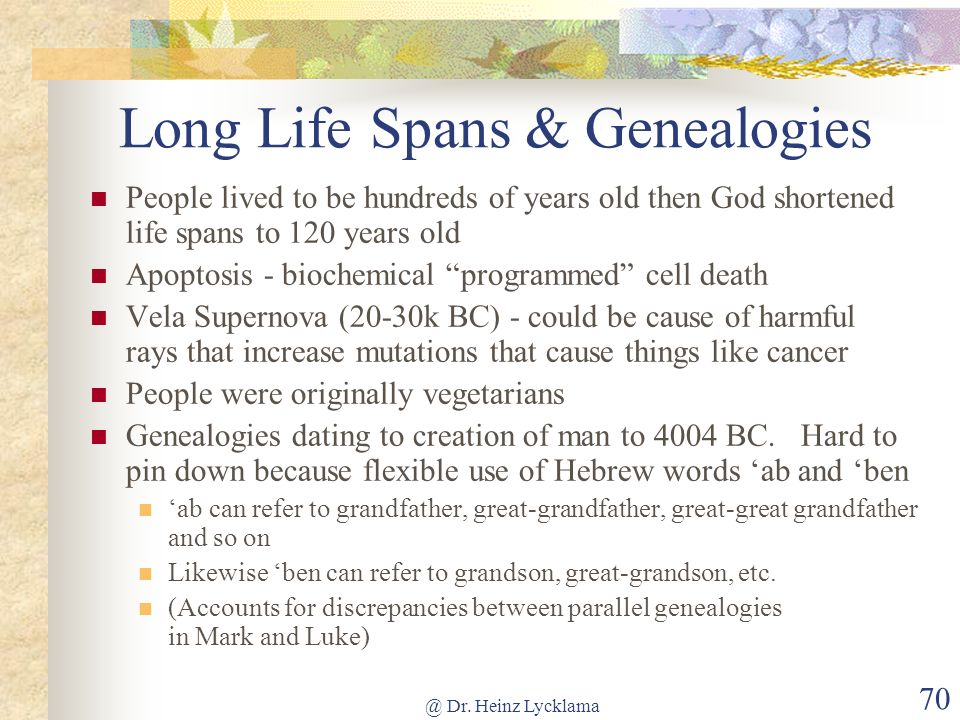@ Dr. Heinz Lycklama 70 Long Life Spans & Genealogies People lived to be hundreds of years old then God shortened life spans to 120 years old Apoptosi