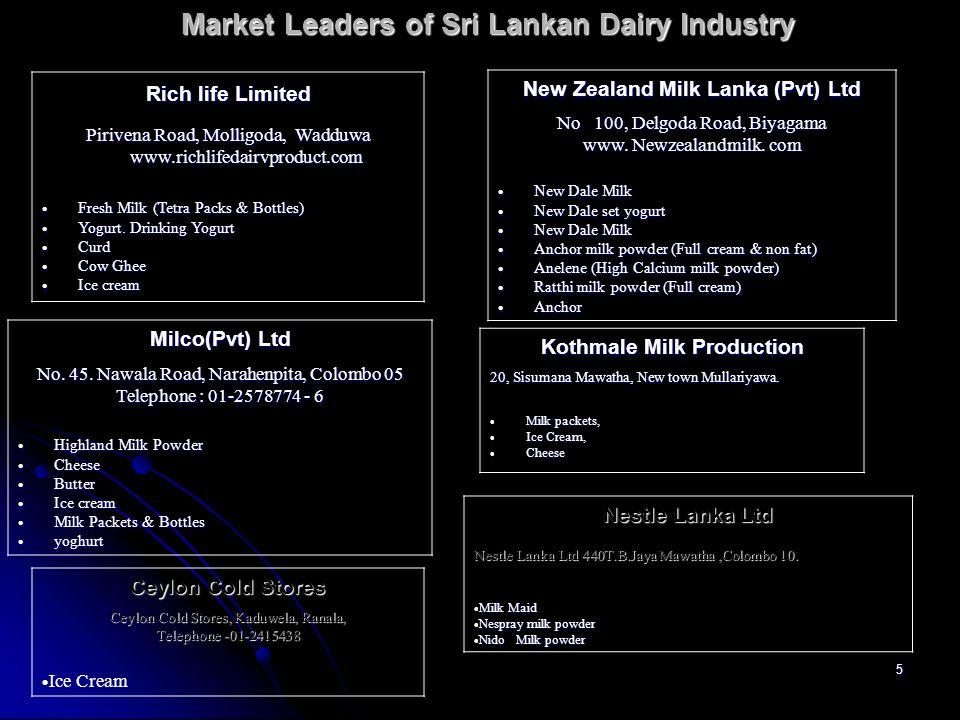 5 Market Leaders of Sri Lankan Dairy Industry Rich life Limited Pirivena Road, Molligoda, Wadduwa www.richlifedairvproduct.com Fresh Milk (Tetra Packs