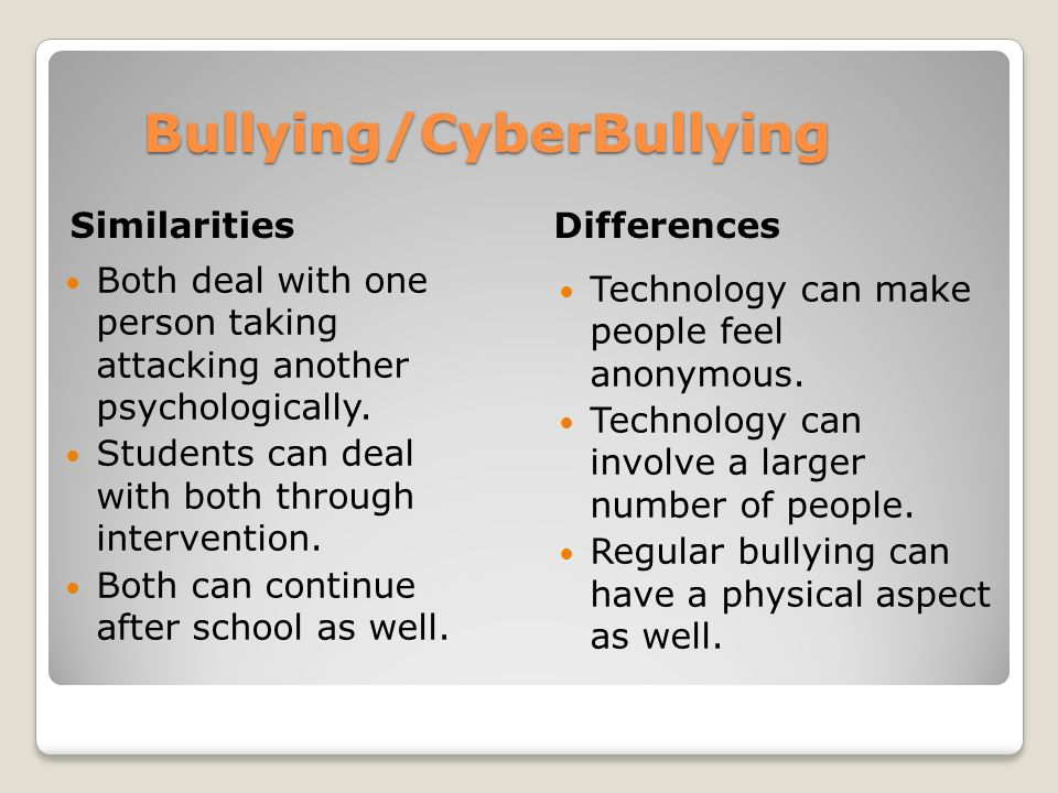 Bullying/CyberBullying Similarities Differences Both deal with one person taking attacking another psychologically. Students can deal with both throug