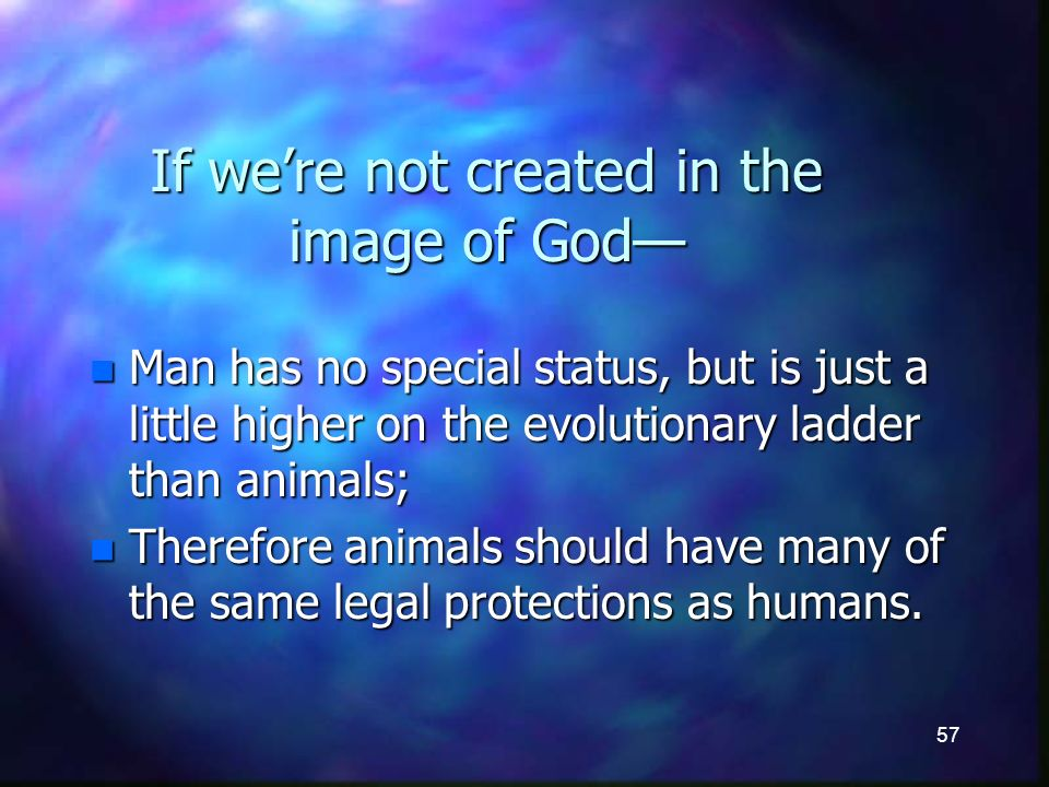 57 If were not created in the image of God n Man has no special status, but is just a little higher on the evolutionary ladder than animals; n Therefore animals should have many of the same legal protections as humans.