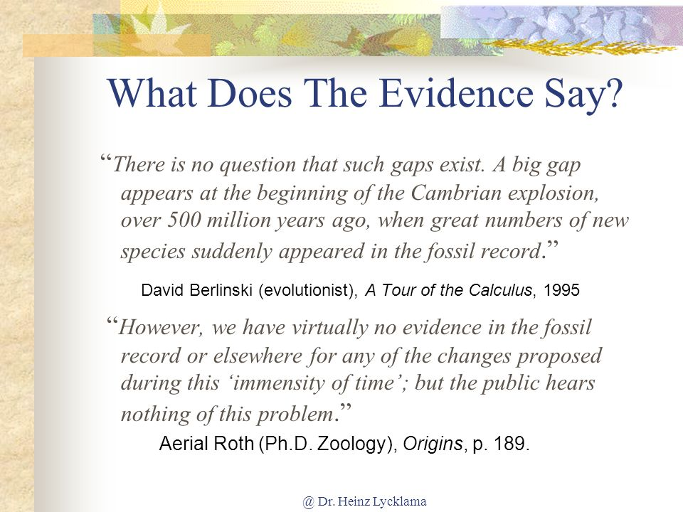@ Dr.Heinz Lycklama What Does The Evidence Say. There is no question that such gaps exist.