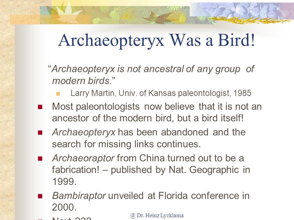 @ Dr.Heinz Lycklama Archaeopteryx Was a Bird.