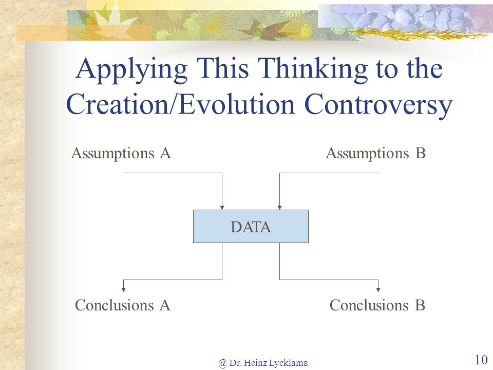 @ Dr. Heinz Lycklama 9 How Our Thought System Works DATA Conclusions Assumptions (held by faith) Logical thought is the means by which we draw conclus