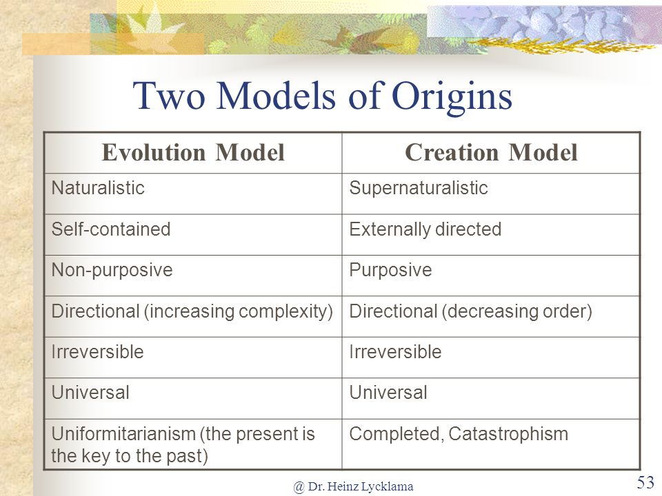 @ Dr. Heinz Lycklama 52 Models of Origins We can neither observe nor repeat origins Origins theories cannot be tested or proven We have two models (no