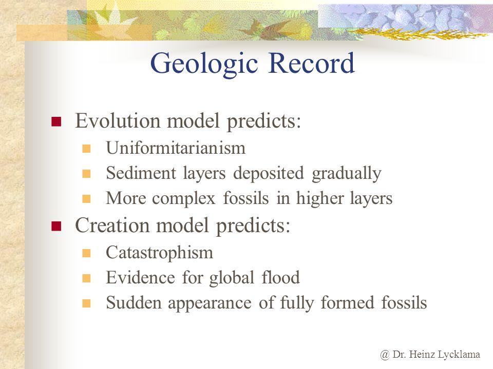 @ Dr. Heinz Lycklama Geologic Record Evolution model predicts: Uniformitarianism Sediment layers deposited gradually More complex fossils in higher la
