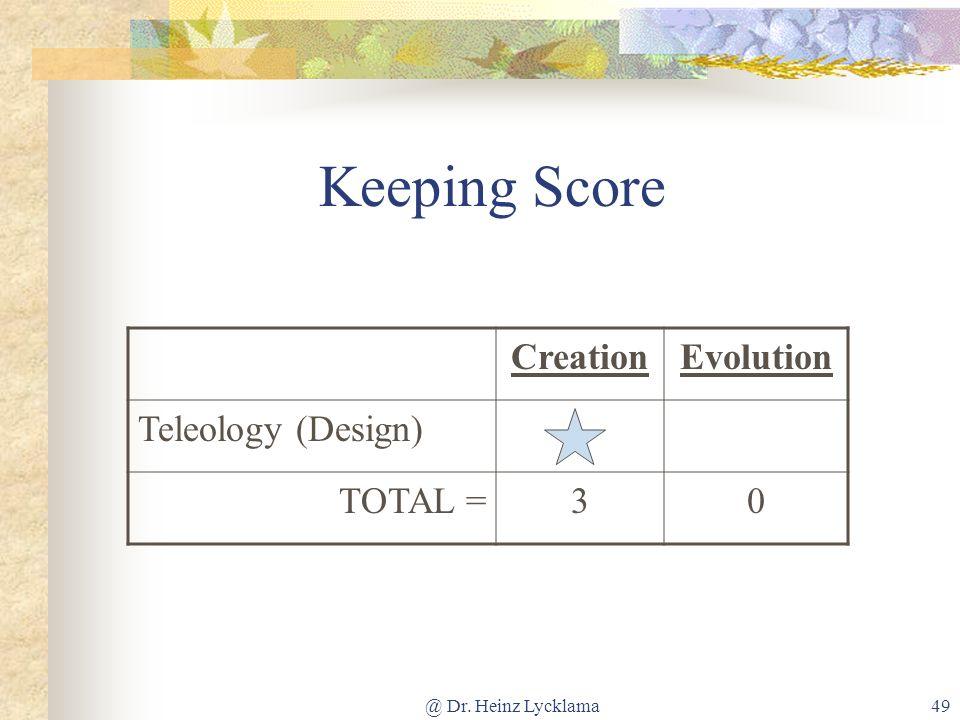 @ Dr. Heinz Lycklama49 Keeping Score CreationEvolution Teleology (Design) TOTAL =30