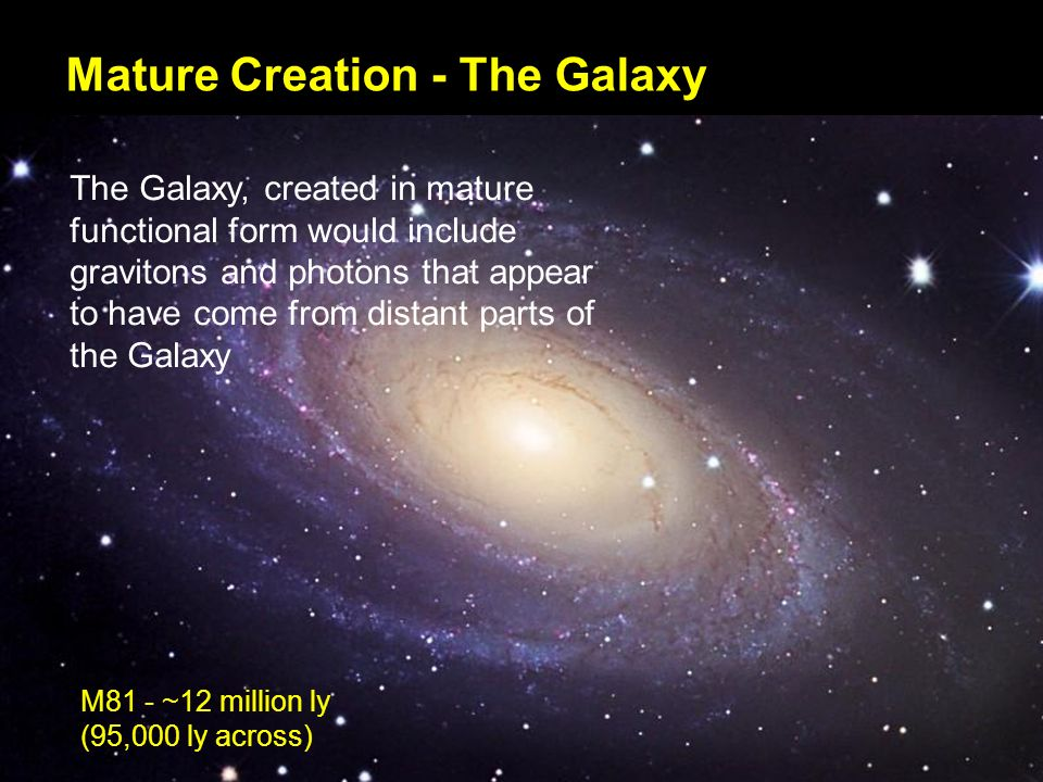 Mature Creation - The Galaxy The Galaxy, created in mature functional form would include gravitons and photons that appear to have come from distant parts of the Galaxy M81 - ~12 million ly (95,000 ly across)