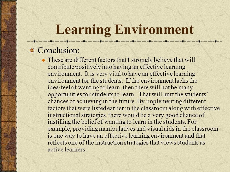 Learning Environment Conclusion: These are different factors that I strongly believe that will contribute positively into having an effective learning environment.