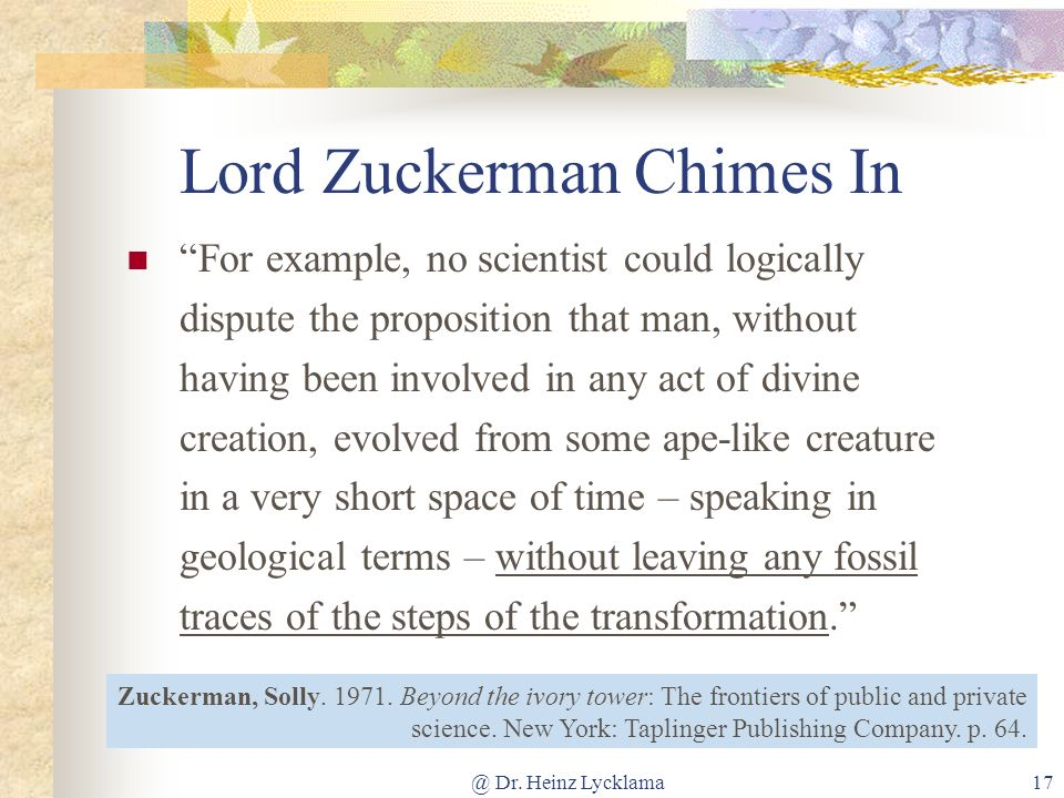 @ Dr. Heinz Lycklama17 For example, no scientist could logically dispute the proposition that man, without having been involved in any act of divine c