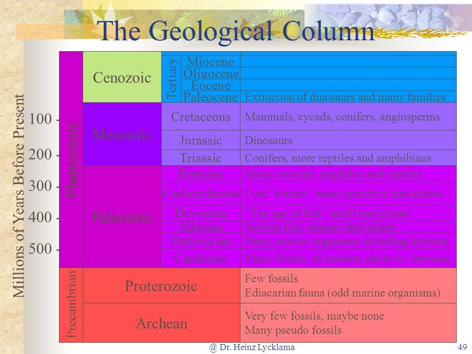 @ Dr. Heinz Lycklama49 The Geological Column Phanerozoic Precambrian Cenozoic Paleozoic Mesozoic Few fossils Ediacarian fauna (odd marine organisms) V