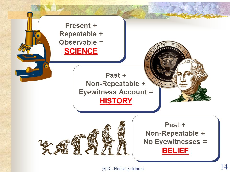 @ Dr. Heinz Lycklama 14 Present + Repeatable + Observable = SCIENCE Past + Non-Repeatable + Eyewitness Account = HISTORY Past + Non-Repeatable + No Ey