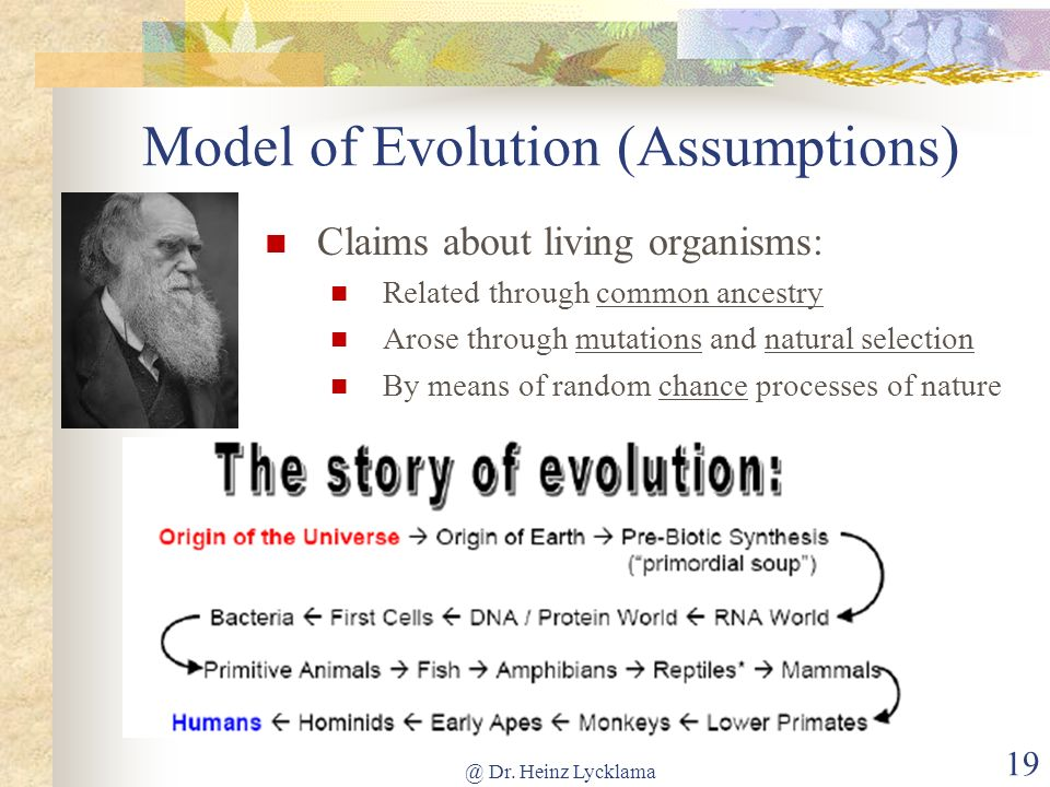 Claims about living organisms: Related through common ancestry Arose through mutations and natural selection By means of random chance processes of na