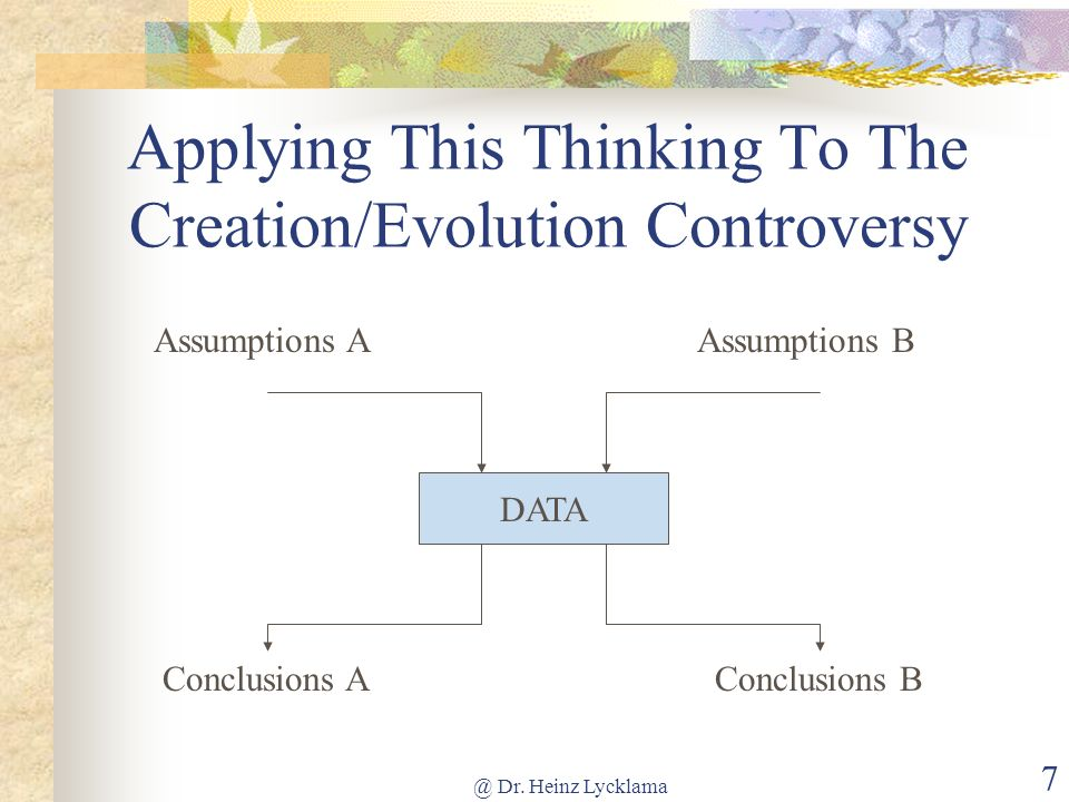 @ Dr. Heinz Lycklama 7 Applying This Thinking To The Creation/Evolution Controversy DATA Conclusions A Assumptions BAssumptions A Conclusions B