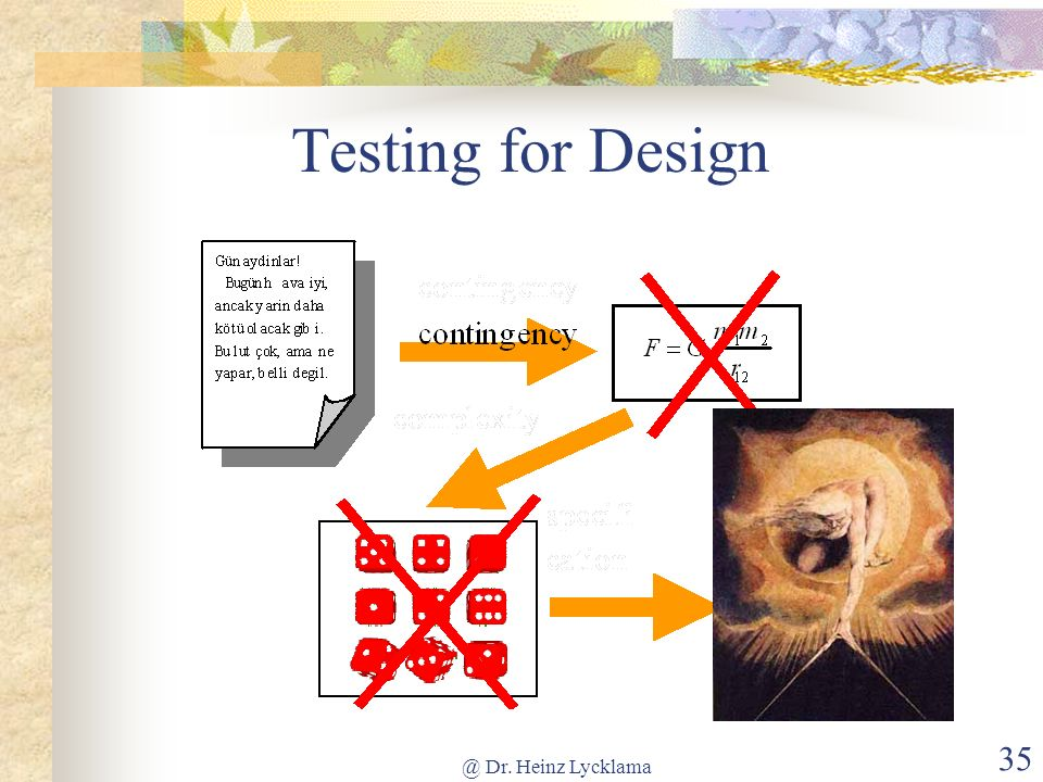 @ Dr. Heinz Lycklama 35 Testing for Design