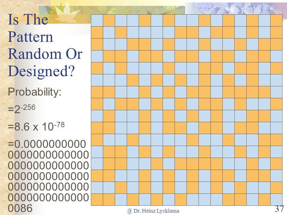 @ Dr. Heinz Lycklama 37 Is The Pattern Random Or Designed? Probability: =2 -256 =8.6 x 10 -78 =0.0000000000 0000000000000 0000000000000 0000000000000