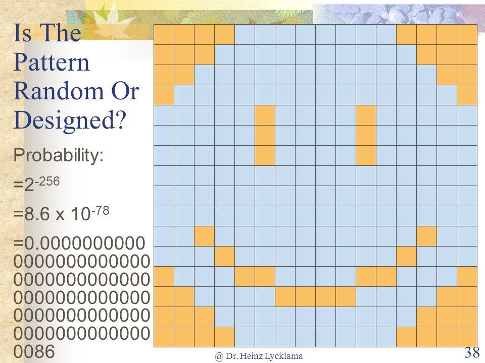 @ Dr. Heinz Lycklama 38 Is The Pattern Random Or Designed? Probability: =2 -256 =8.6 x 10 -78 =0.0000000000 0000000000000 0000000000000 0000000000000