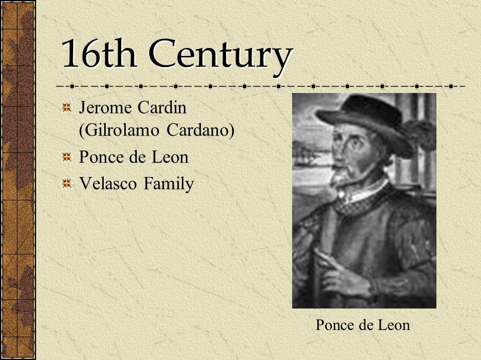 16th Century Jerome Cardin (Gilrolamo Cardano) Ponce de Leon Velasco Family Ponce de Leon