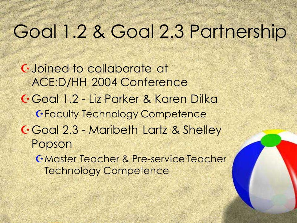 Goal 1.2 & Goal 2.3 Partnership ZJoined to collaborate at ACE:D/HH 2004 Conference ZGoal 1.2 - Liz Parker & Karen Dilka ZFaculty Technology Competence ZGoal 2.3 - Maribeth Lartz & Shelley Popson ZMaster Teacher & Pre-service Teacher Technology Competence