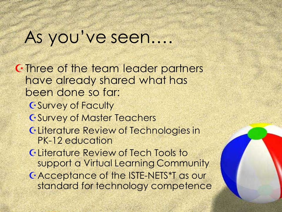 As youve seen…. ZThree of the team leader partners have already shared what has been done so far: ZSurvey of Faculty ZSurvey of Master Teachers ZLiter