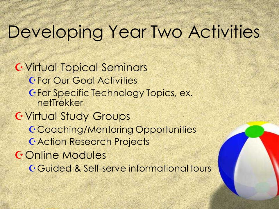 Developing Year Two Activities ZVirtual Topical Seminars ZFor Our Goal Activities ZFor Specific Technology Topics, ex.