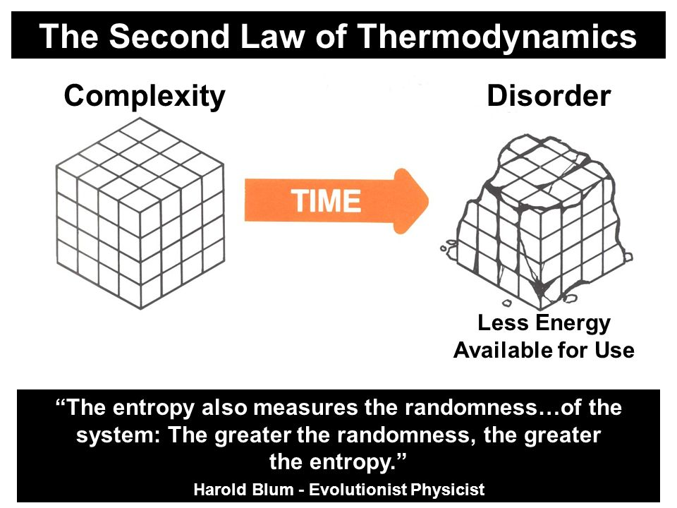 The Second Law of Thermodynamics ComplexityDisorder Less Energy Available for Use The entropy also measures the randomness…of the system: The greater the randomness, the greater the entropy.