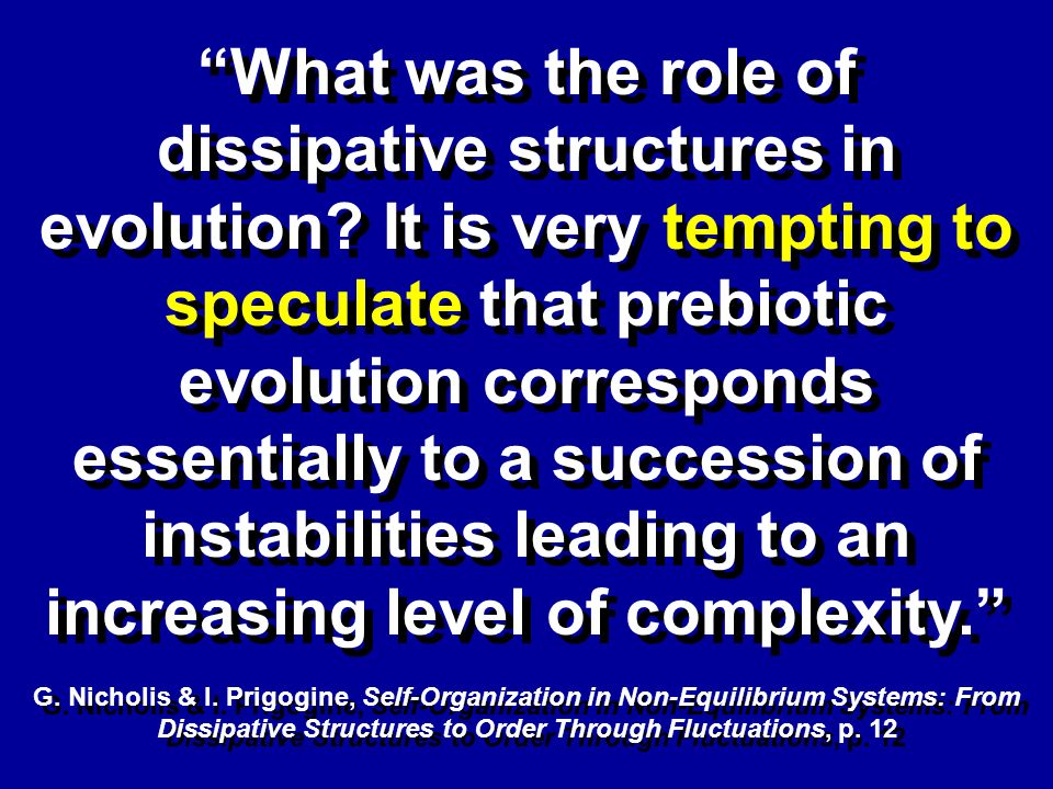 What was the role of dissipative structures in evolution.
