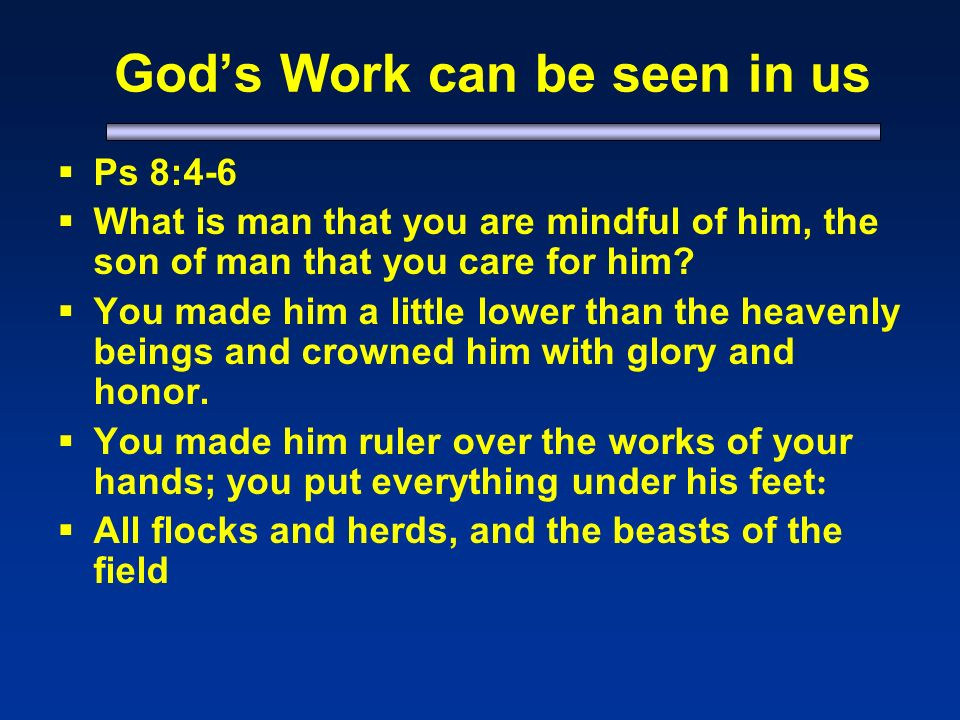 Gods Work can be seen in us Ps 8:4-6 What is man that you are mindful of him, the son of man that you care for him.