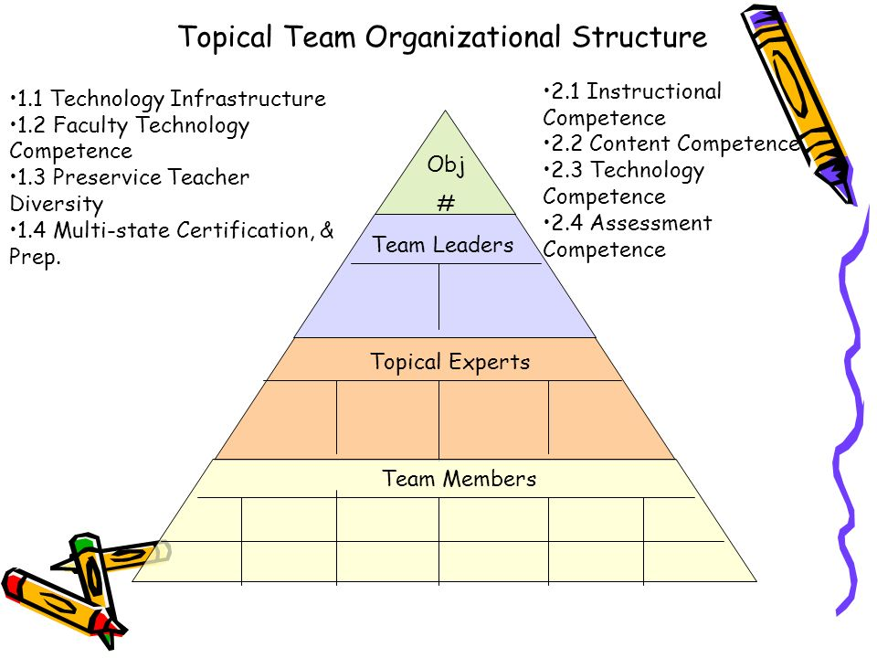 Topical Team Organizational Structure Obj # Team Leaders Topical Experts Team Members 1.1 Technology Infrastructure 1.2 Faculty Technology Competence 1.3 Preservice Teacher Diversity 1.4 Multi-state Certification, & Prep.