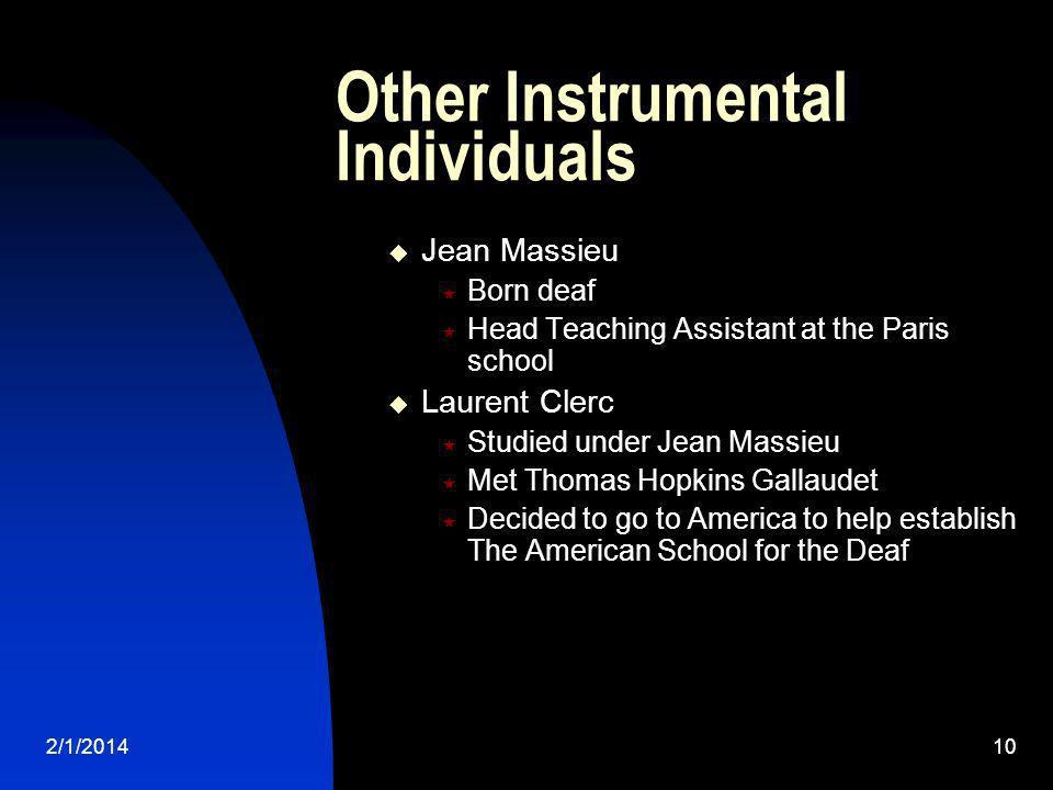 2/1/201410 Other Instrumental Individuals Jean Massieu Born deaf Head Teaching Assistant at the Paris school Laurent Clerc Studied under Jean Massieu