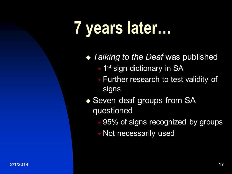 2/1/201417 7 years later… Talking to the Deaf was published 1 st sign dictionary in SA Further research to test validity of signs Seven deaf groups fr