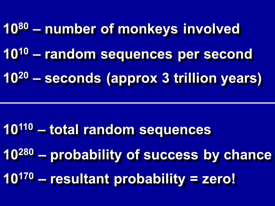 10 80 – number of monkeys involved – random sequences per second – seconds (approx 3 trillion years) – total random sequences – probability of success by chance – resultant probability = zero!