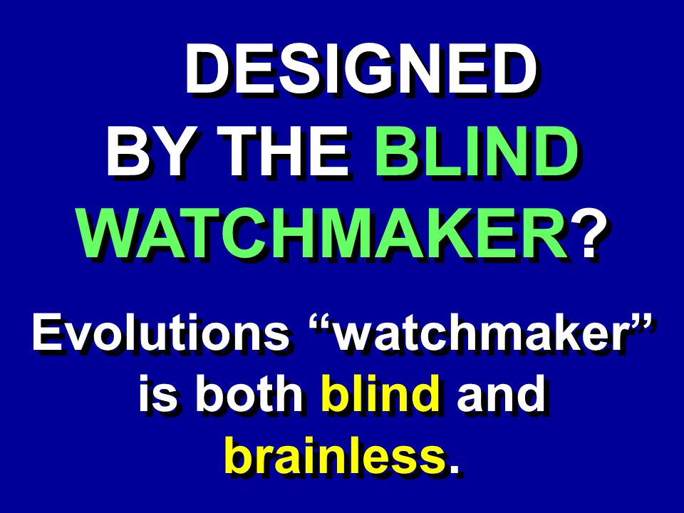 DESIGNED BY THE BLIND WATCHMAKER? DESIGNED BY THE BLIND WATCHMAKER? Evolutions watchmaker is both blind and brainless.