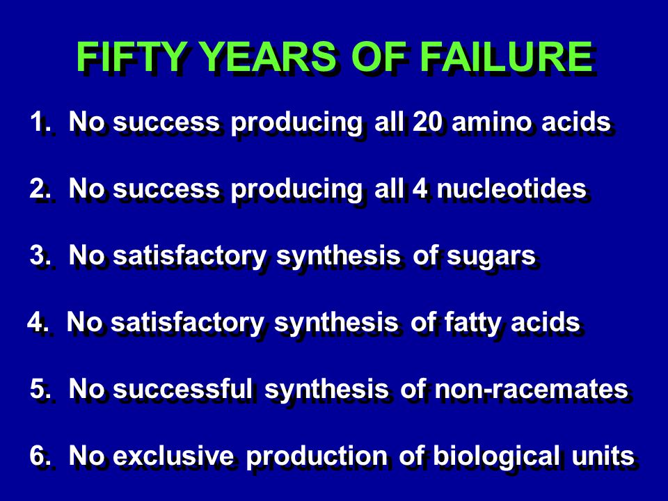 FIFTY YEARS OF FAILURE 1. No success producing all 20 amino acids 2.