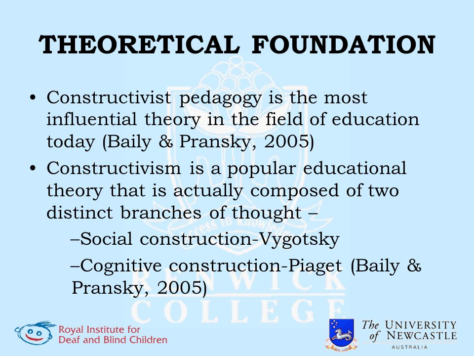 THEORETICAL FOUNDATION Constructivist pedagogy is the most influential theory in the field of education today (Baily & Pransky, 2005) Constructivism i
