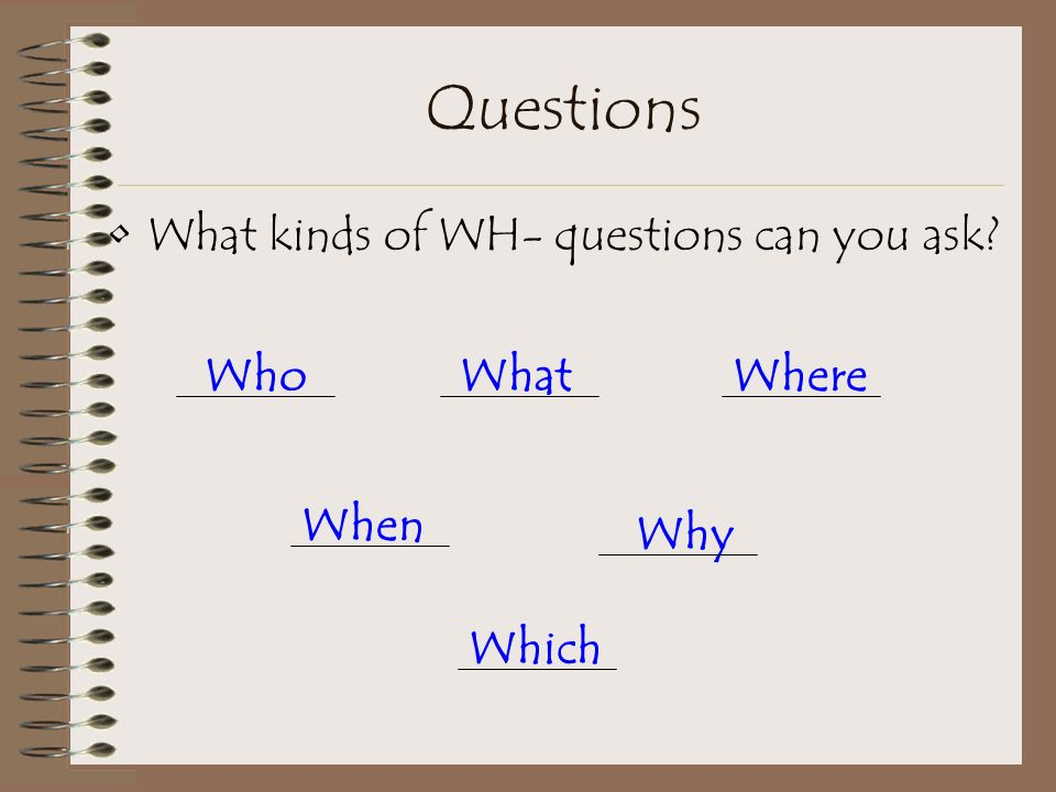 Question Asking Who, What, Where, When, Why, Which Created by: Emily R. Wargel 2001